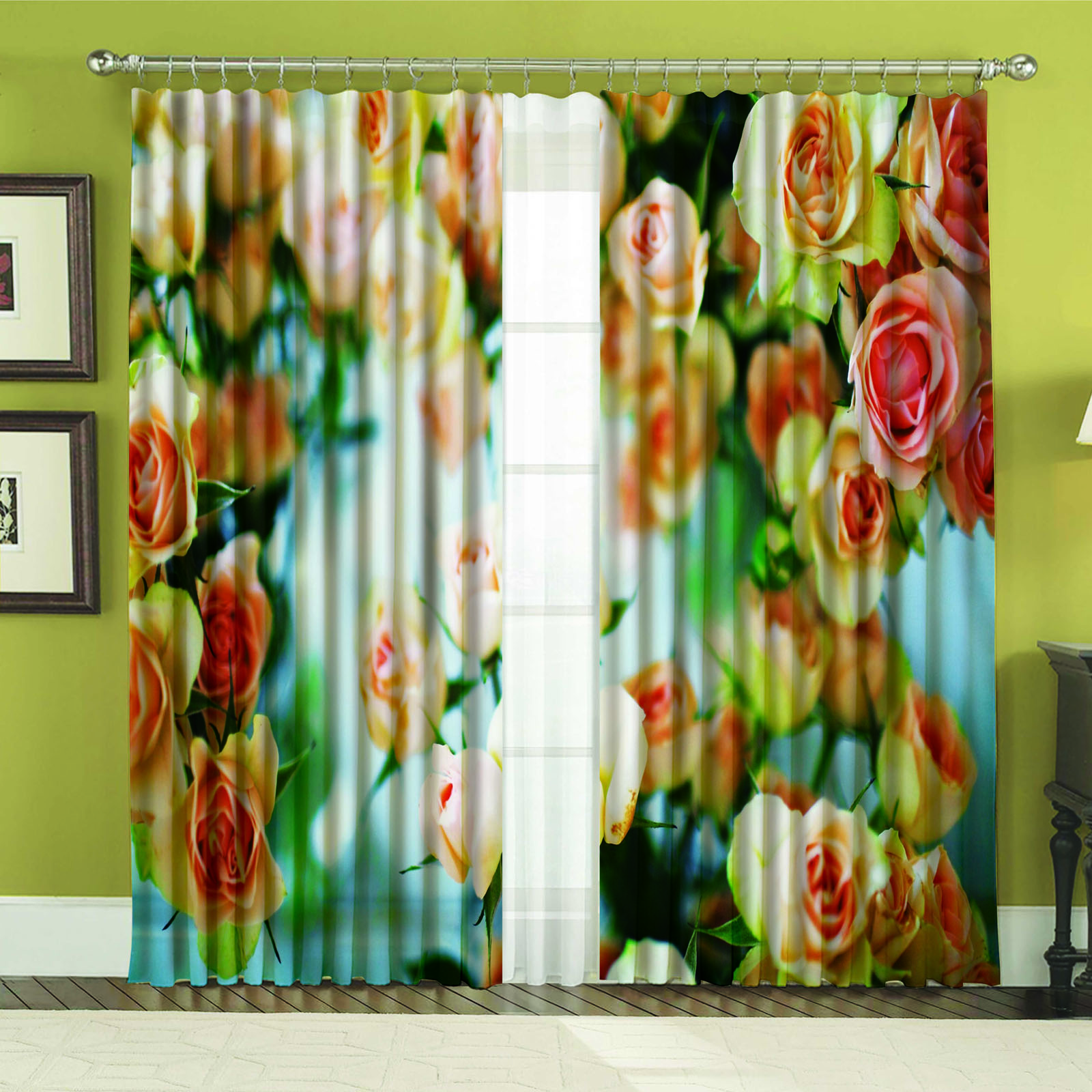 Комплект штор + тюль «Ванильная роза»