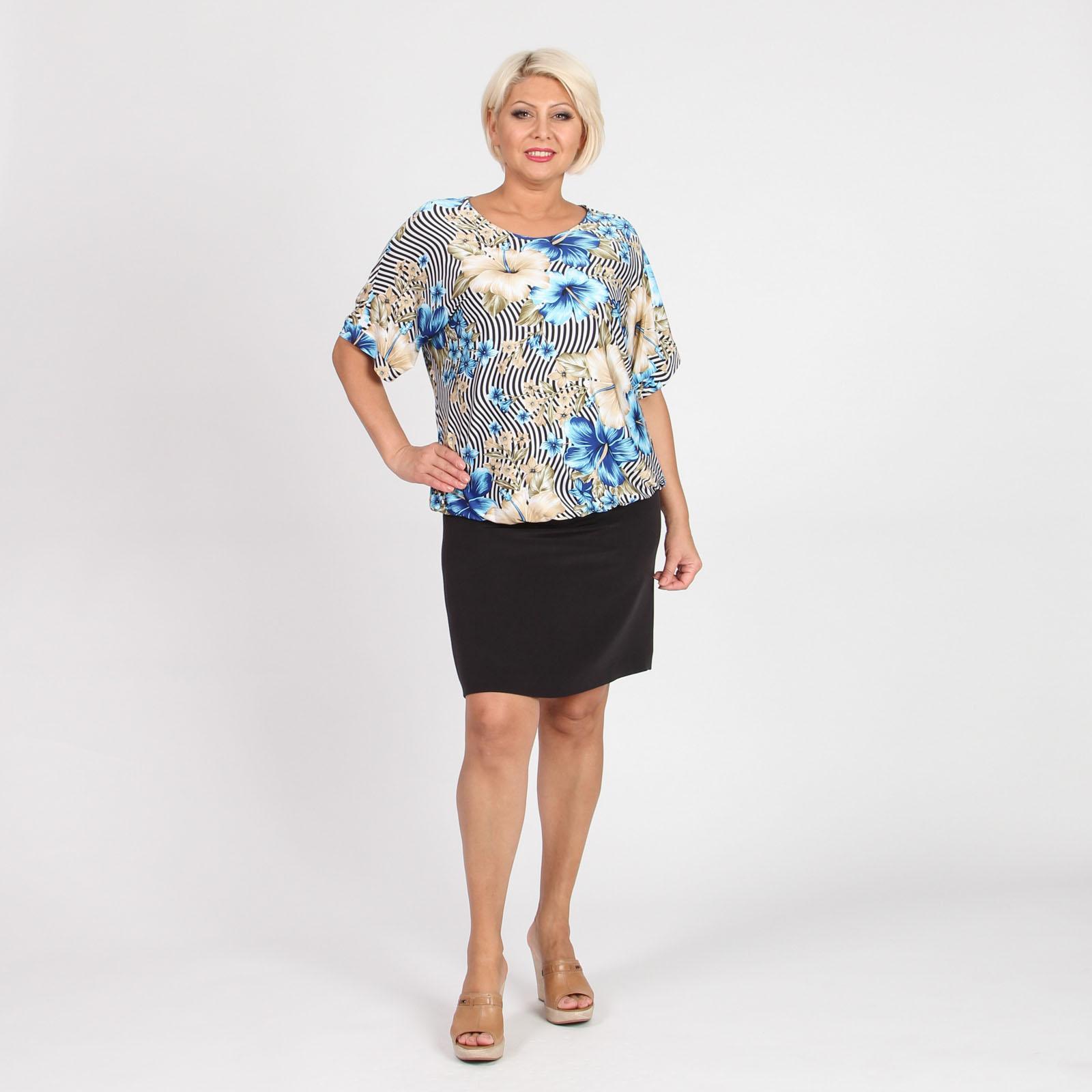 Блуза с округлым вырезом и рукавом летучая мышь