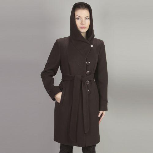 Велюровое пальто с отложным воротником и капюшоном