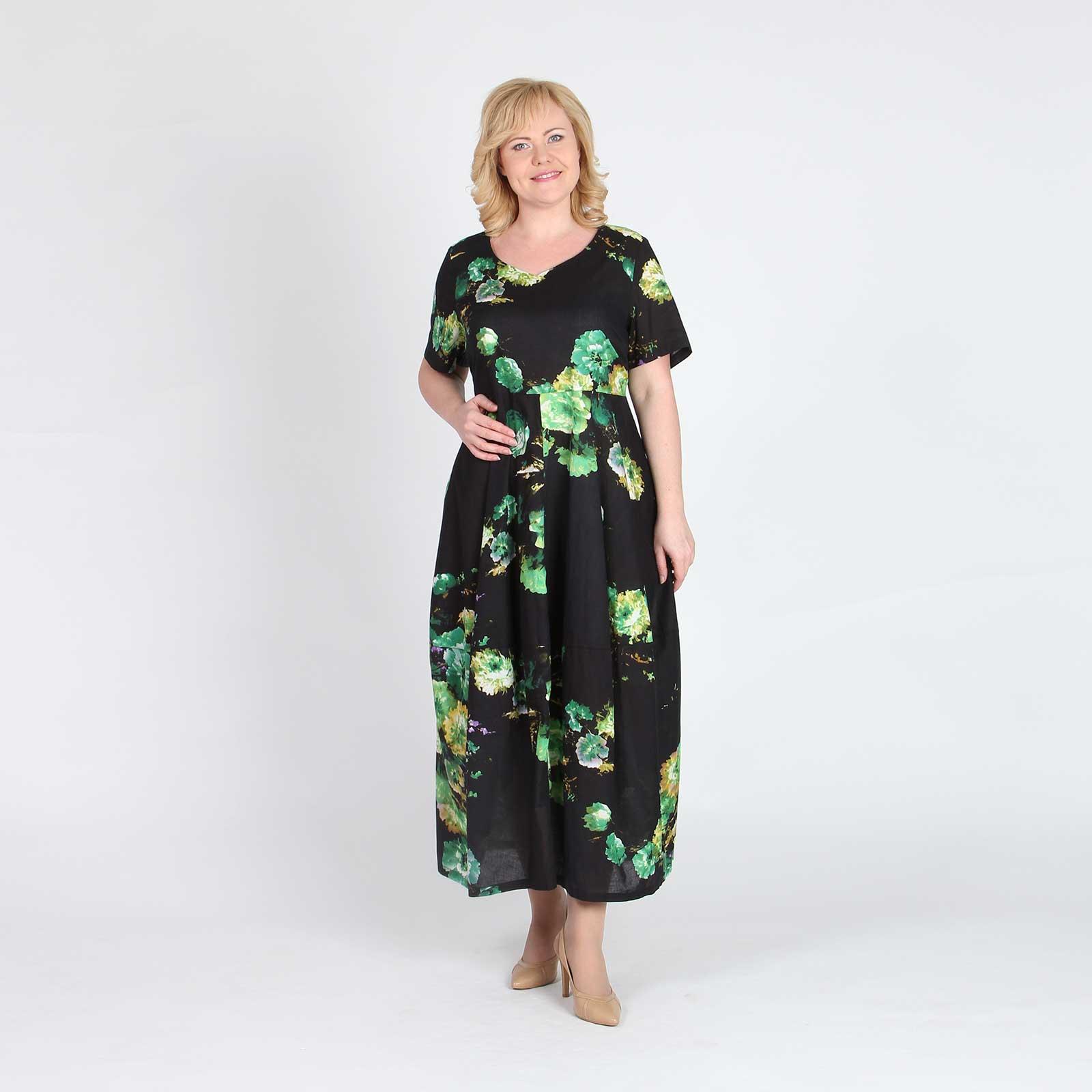 Платье макси хлопковое с цветочным принтом