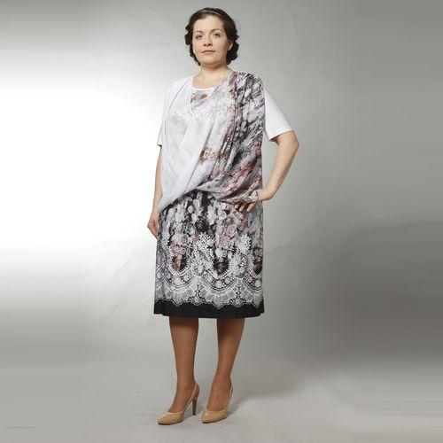Двойка: трикотажное платье с шифоновой накидкой