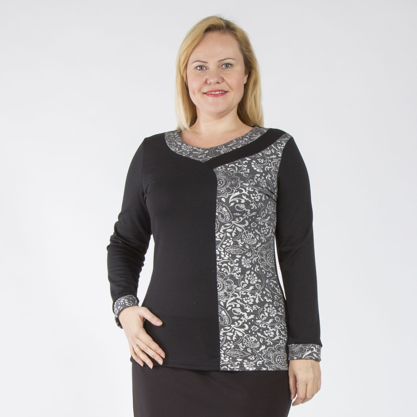 Блуза с блестящим узорным принтом