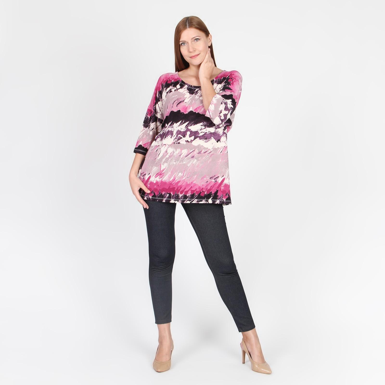 Блуза с коротким рукавом и акварельным принтом