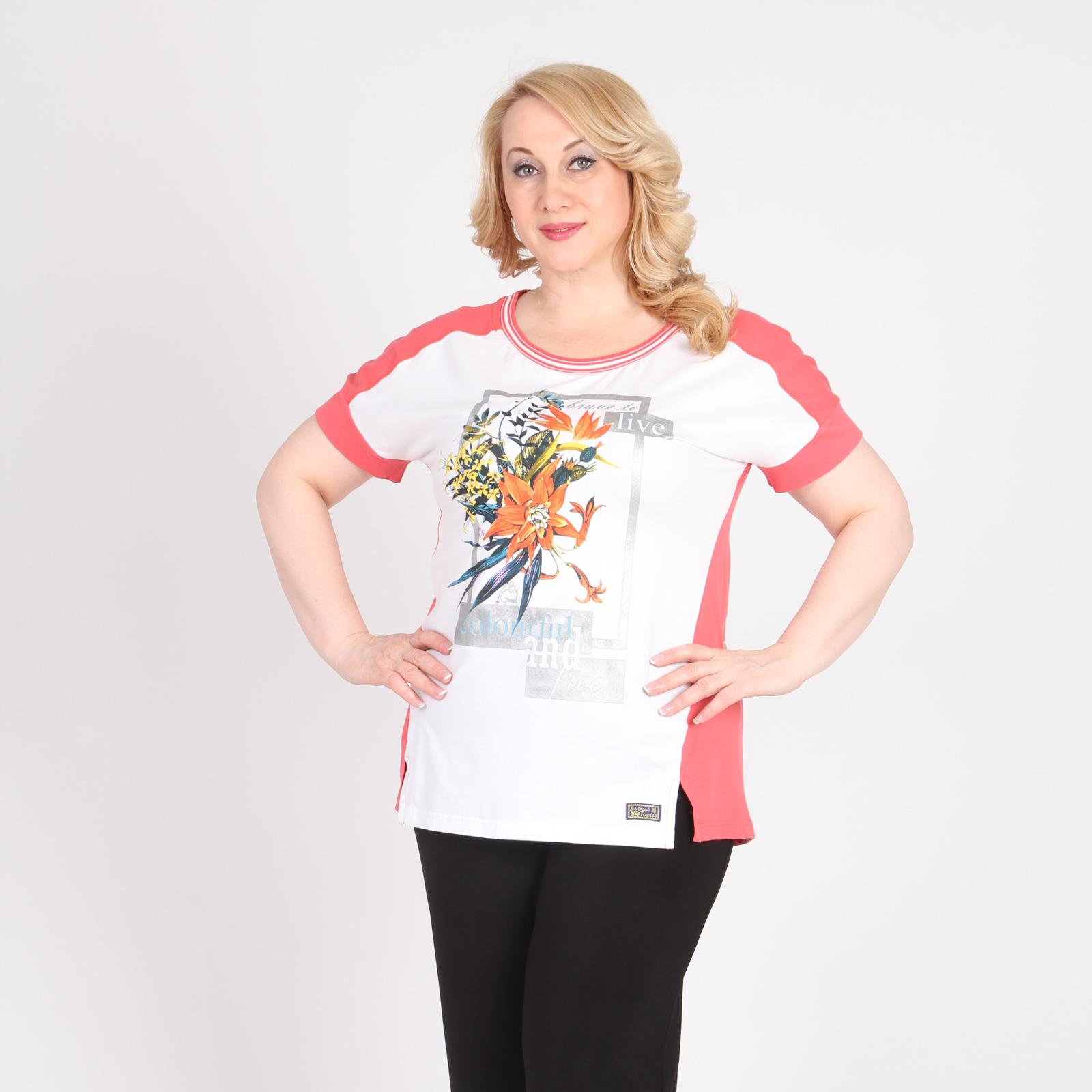 Блуза прямого кроя с принтом «Тропический цветок»