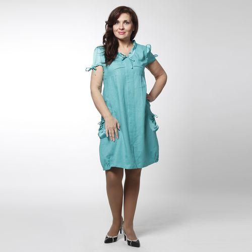 Платье льняное с атласной отделкой