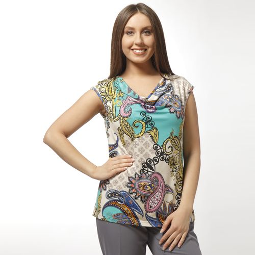 Блуза с воротником-качели и принтом пэчворк