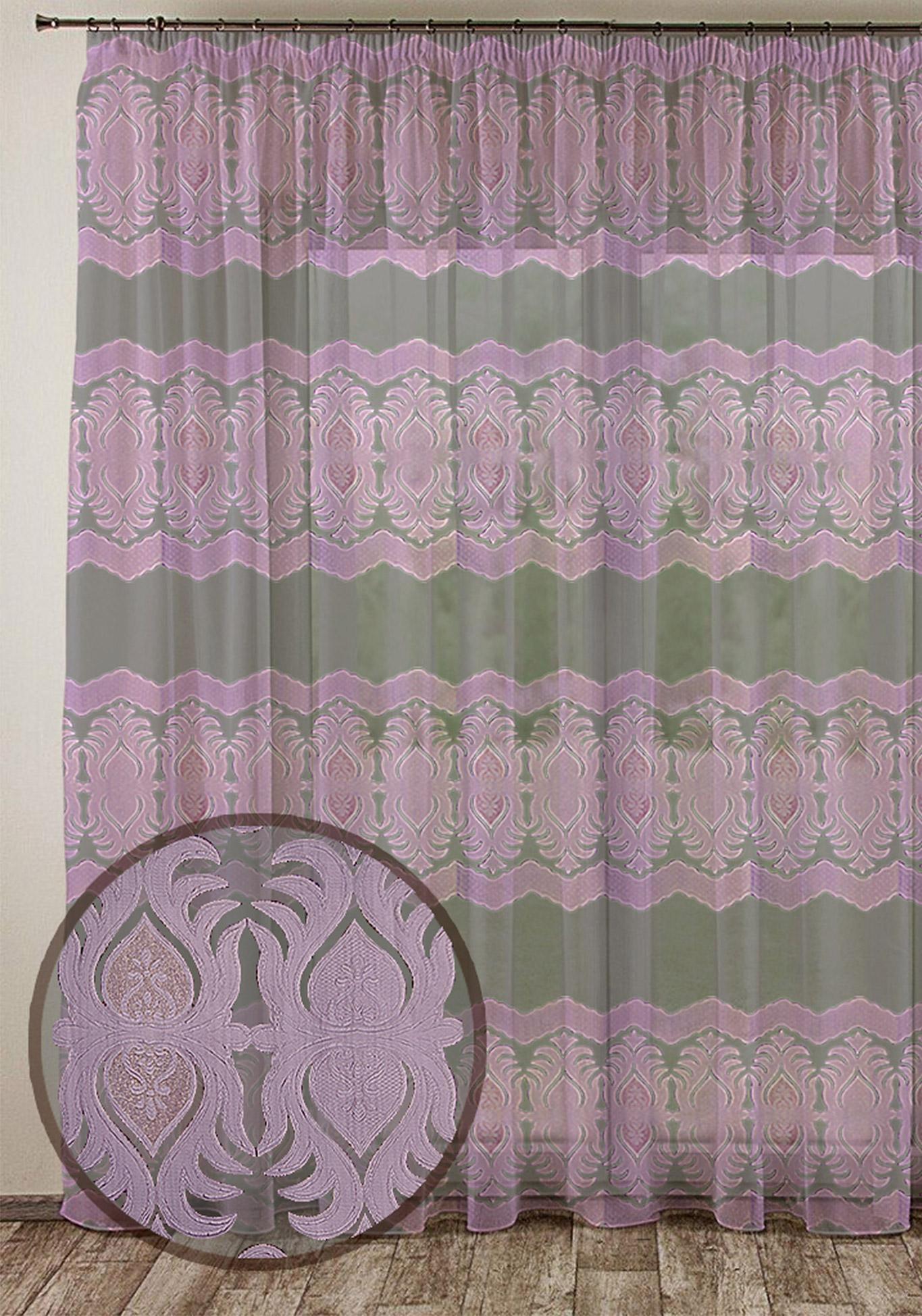 Тюль с жаккардовым тиснением Очарование комплект шторы и тюль мартекс фиолетовый сад