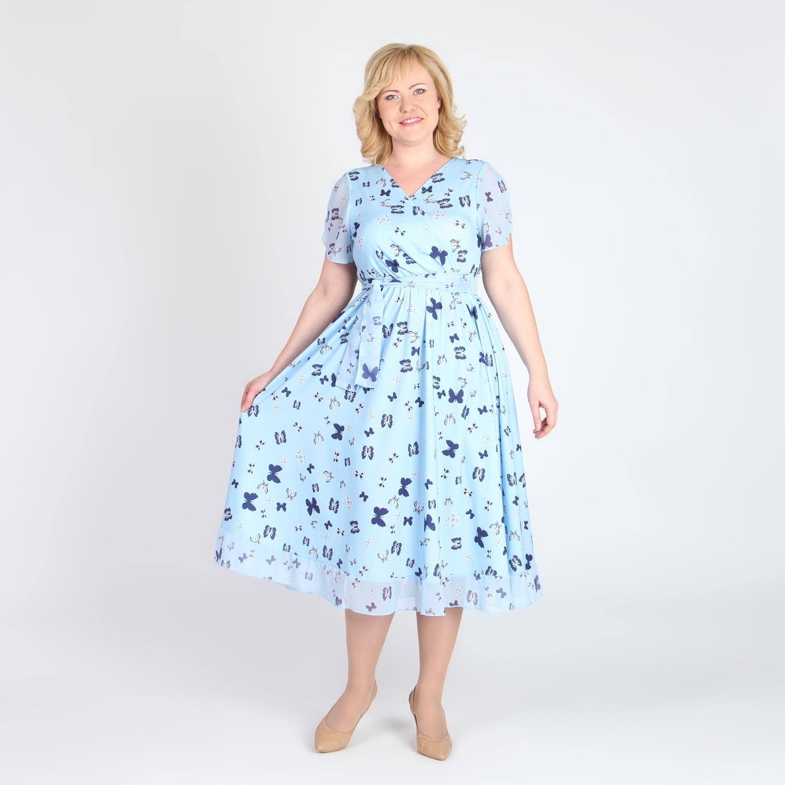 Платье-миди с нежным принтом и отделкой из шифона