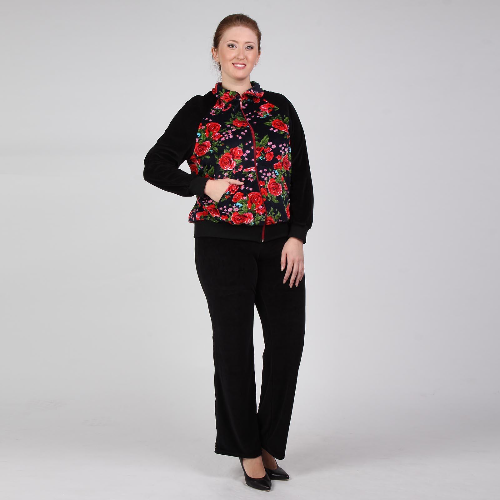 Костюм на молнии: брюки и куртка с цветочным принтом