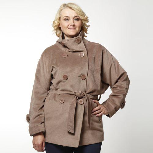Двубортное укороченное пальто с поясом