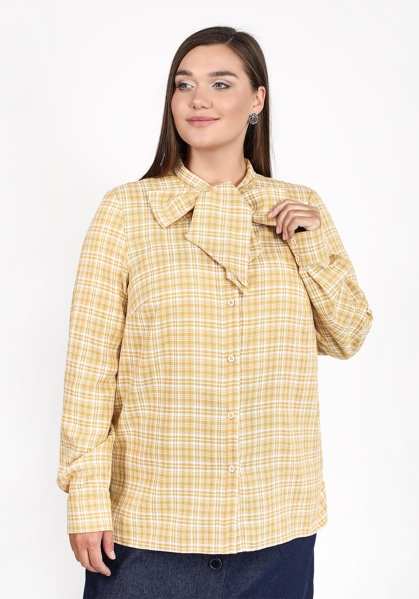 Блуза в клетку с бантом