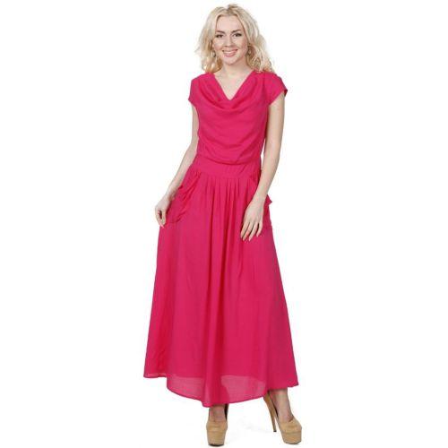 Платье-макси с воротником-качели и карманами