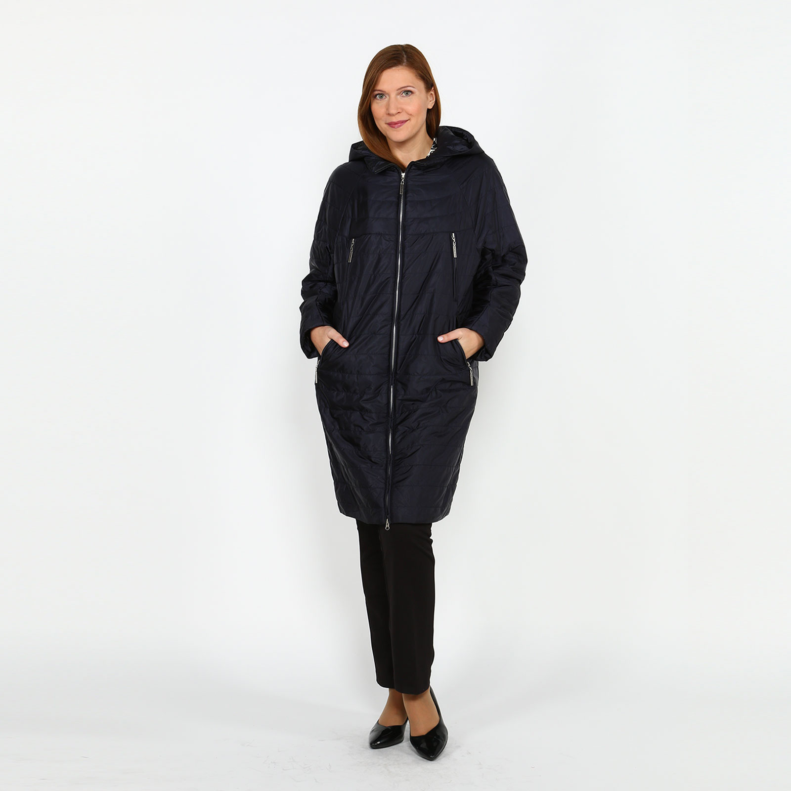 Пальто на молнии с карманами