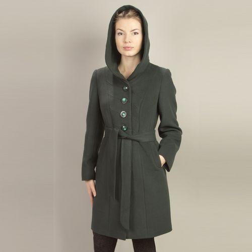 Велюровое пальто с капюшоном на пуговицах