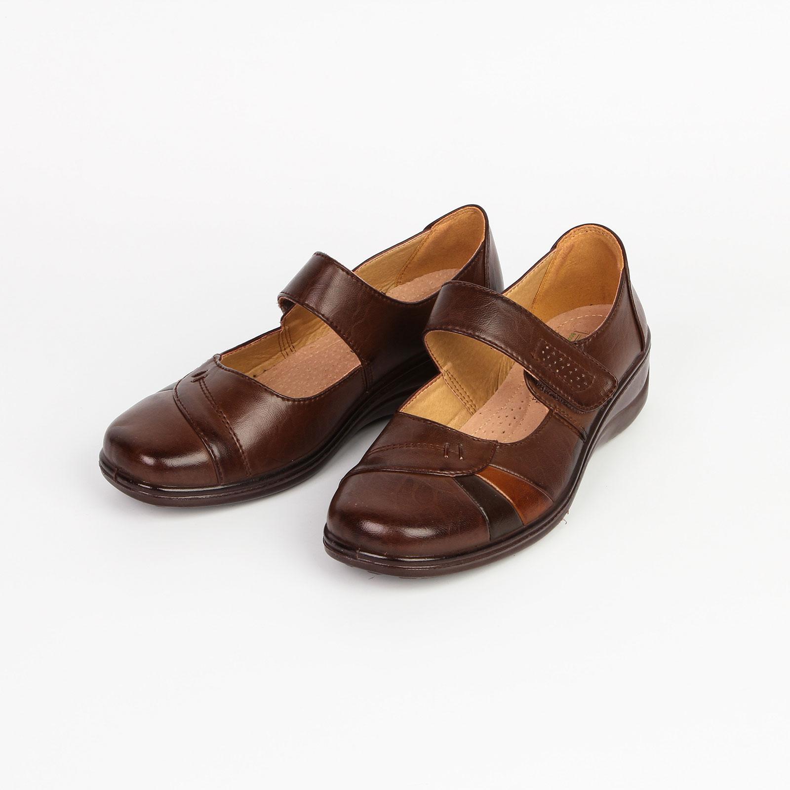 Туфли женские на липучке украшенные строчкой