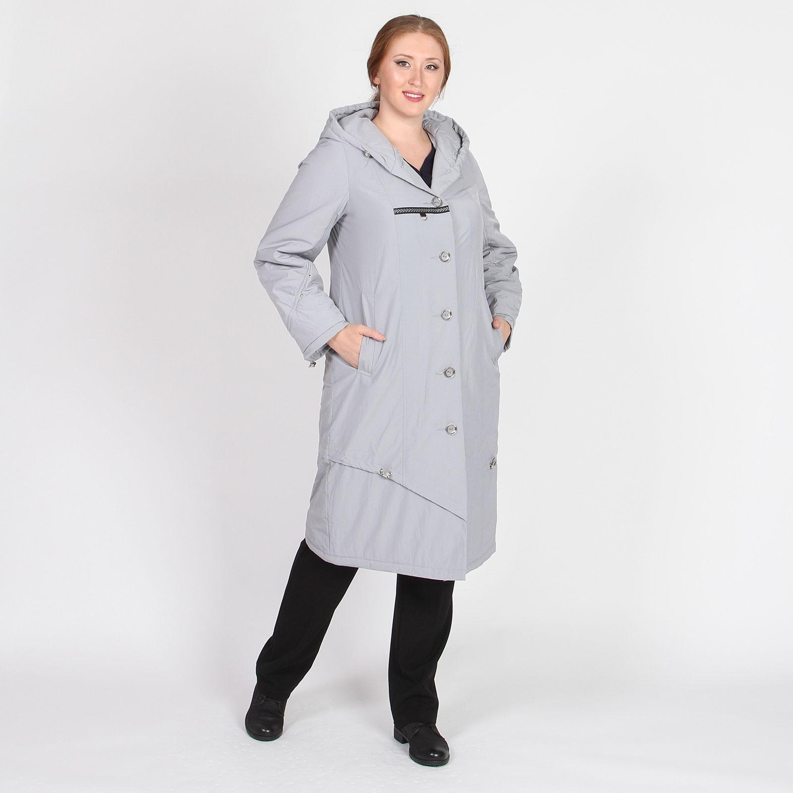 Пальто с капюшоном декорированное кулисками