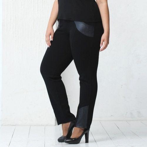 Зауженные брюки с отделкой под кожу