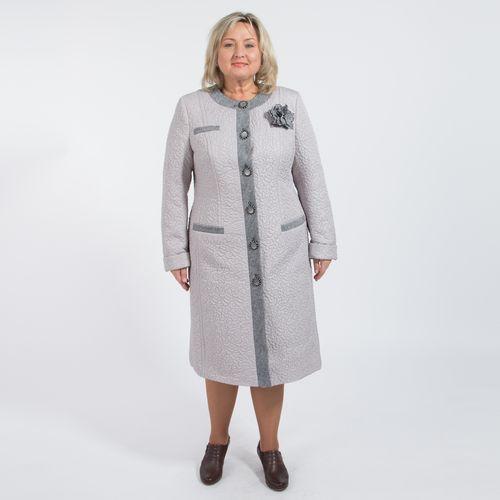 Пальто прилегающего силуэта из плащевой стеганой ткани с отделкой из твида