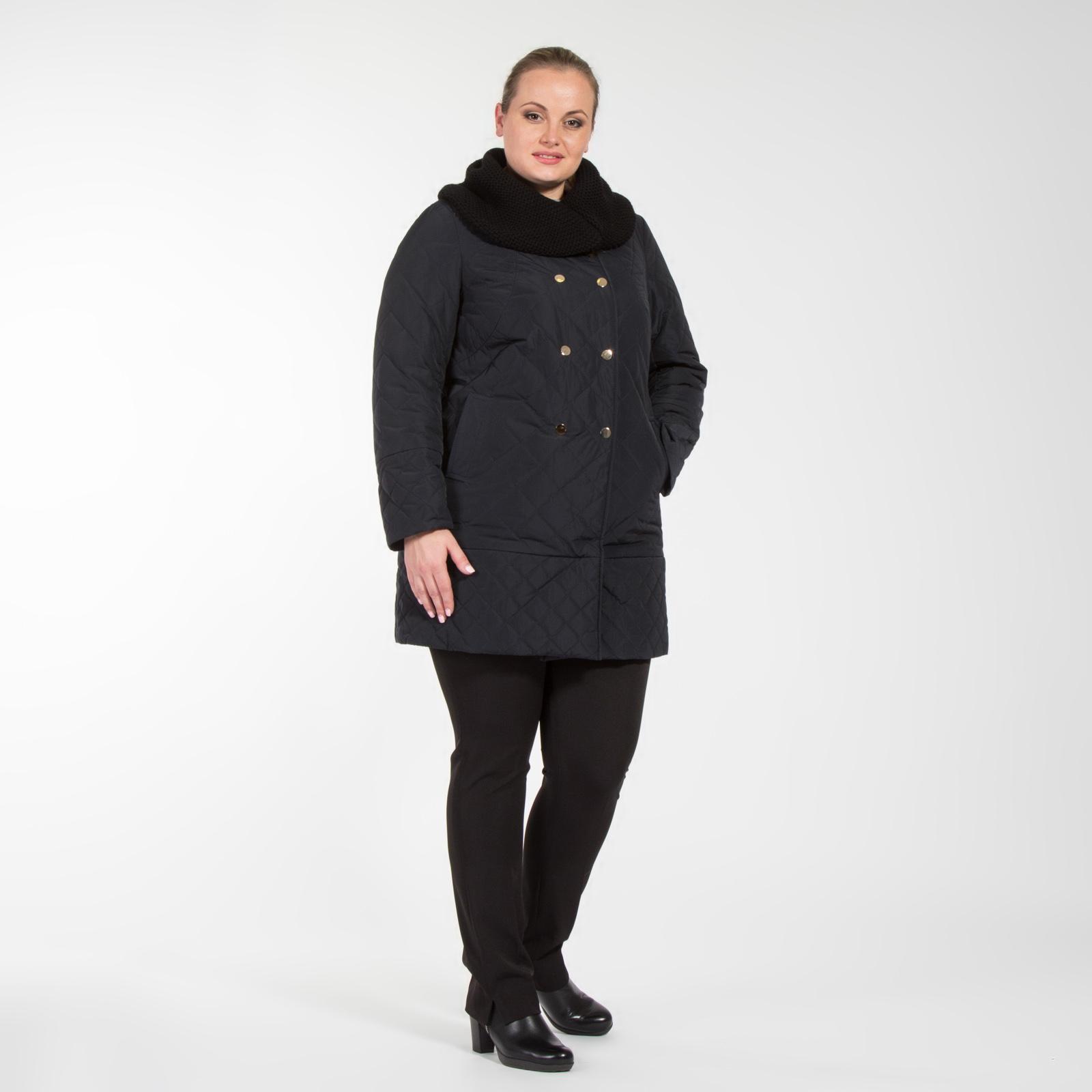 Пальто стеганое с имитацией снуда