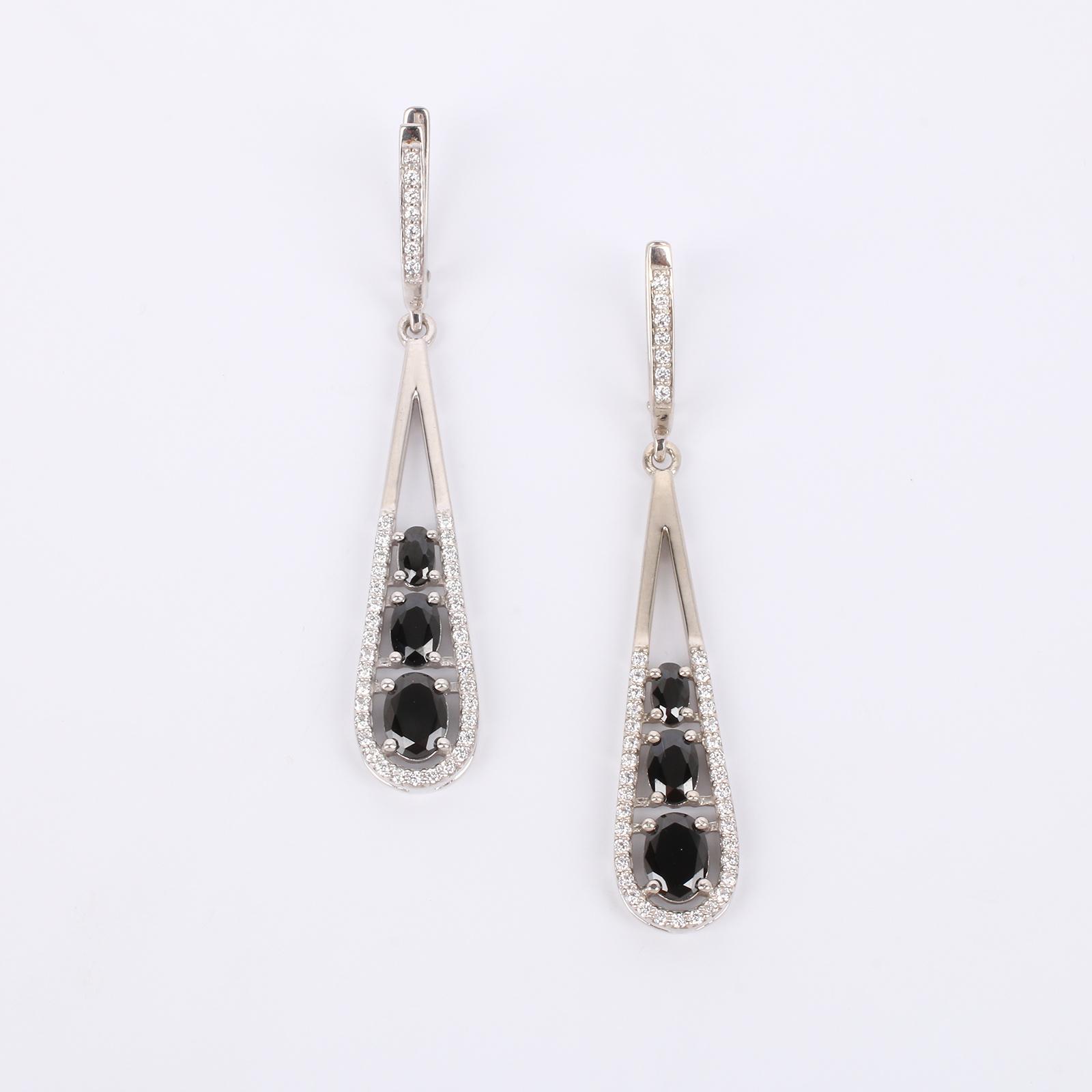 Серебряные серьги Торжественный выход серьги с подвесками эстет серебряные серьги с куб циркониями и пластиком est01с2510678 10z