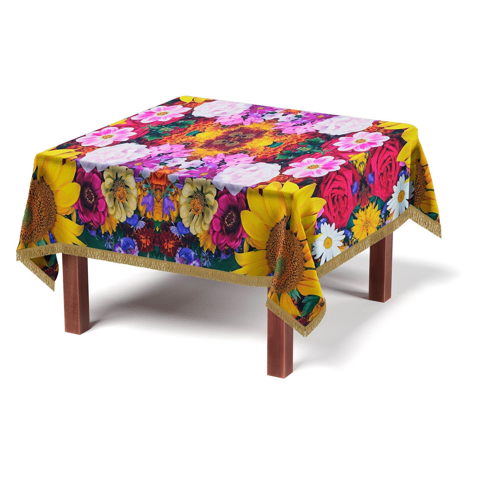 Скатерть с бахромой «Цветущая поляна»