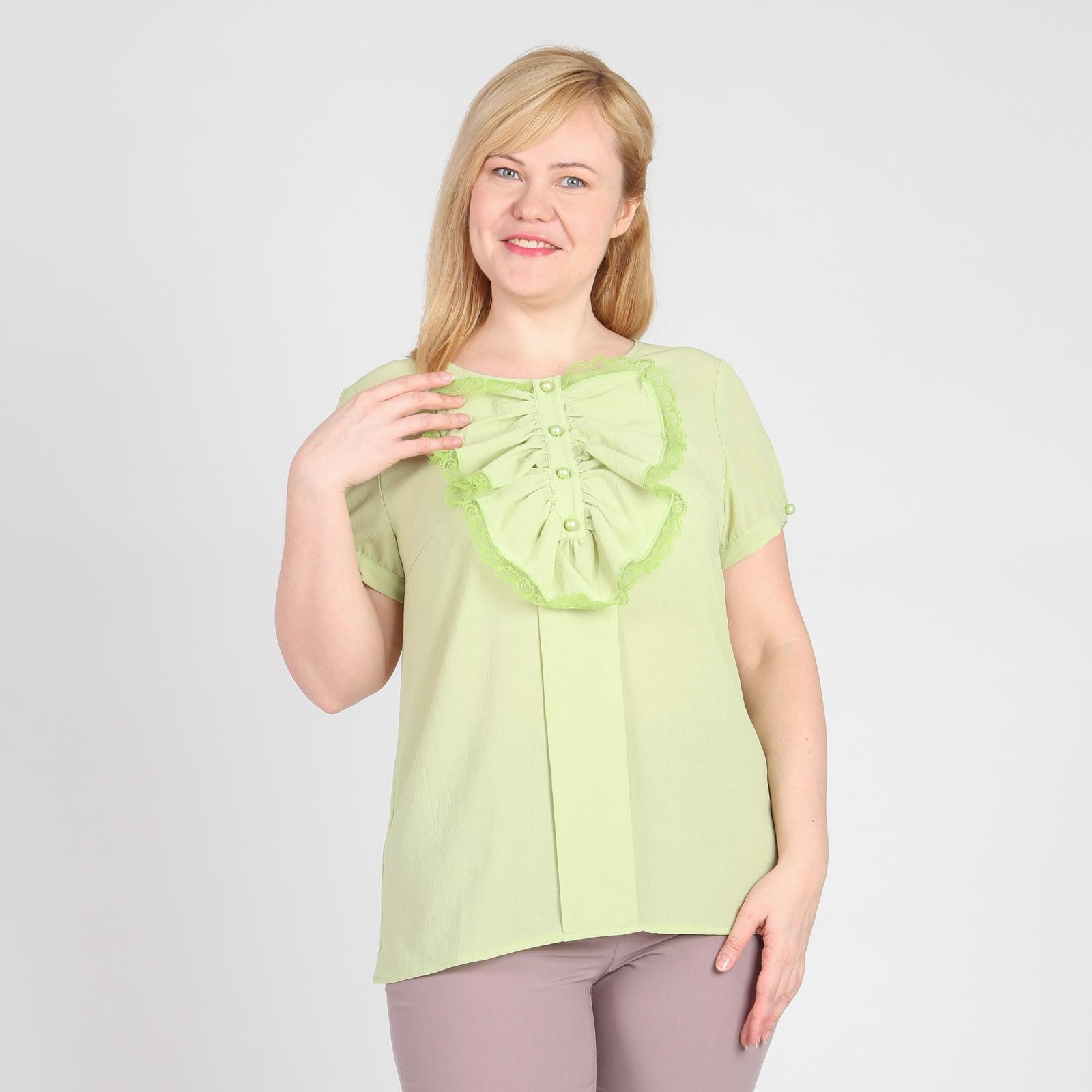 Блуза приталенного кроя со съемным воротником жабо