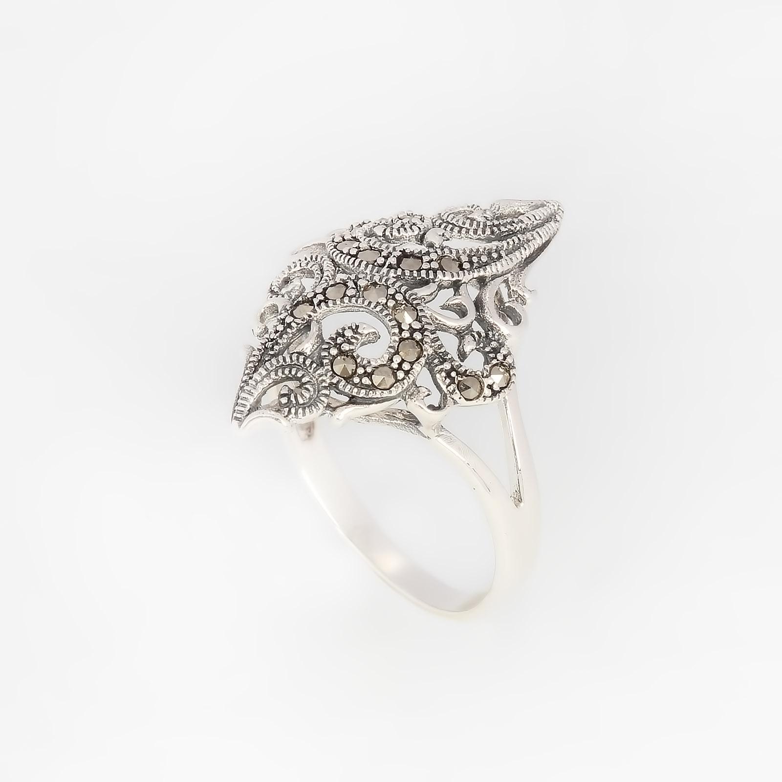 Серебряное кольцо «Серебристый марказит»