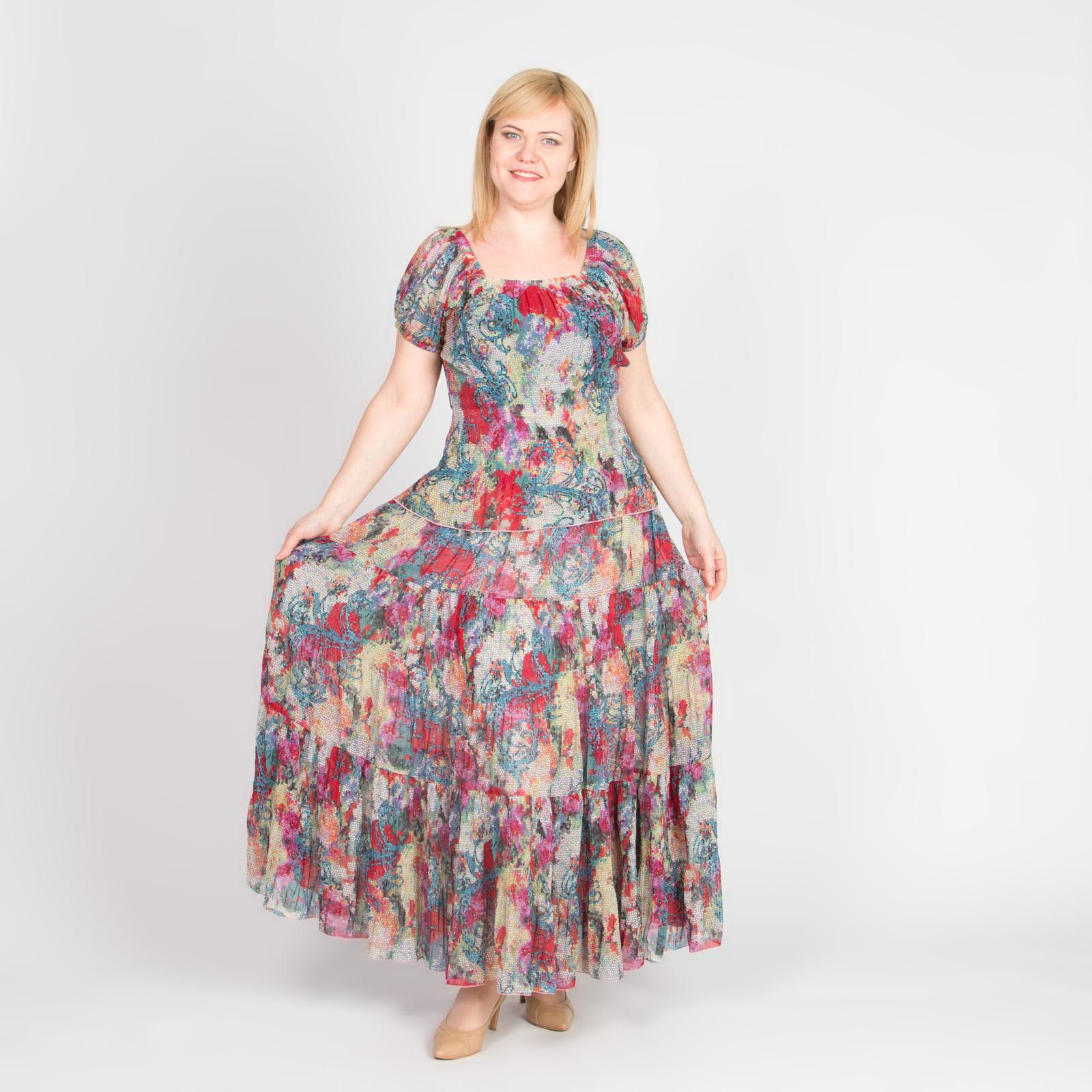 Костюм: блуза и юбка-макси из шифоновой ткани