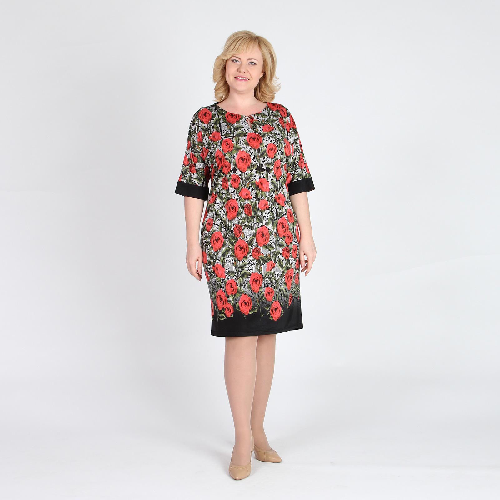 Платье прямого кроя с принтом «Розы»
