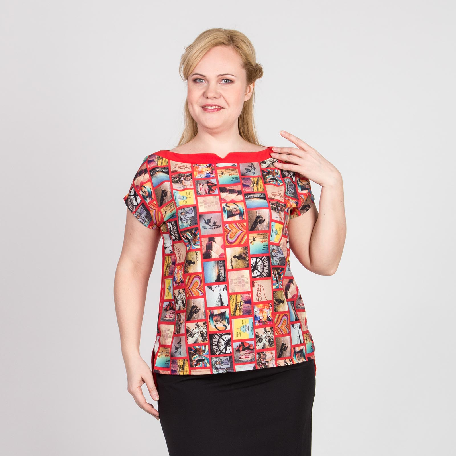 Блуза прямого кроя с оригинальным принтом