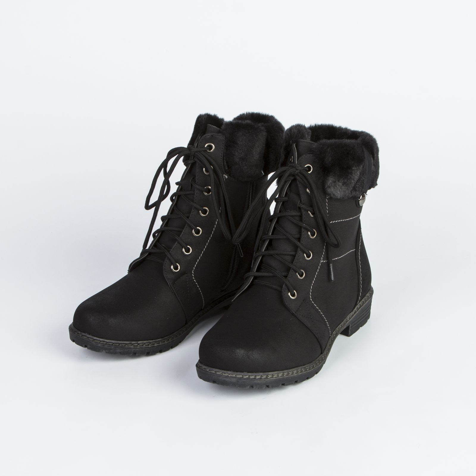 Ботинки женские с меховой опушкой и шнуровкой