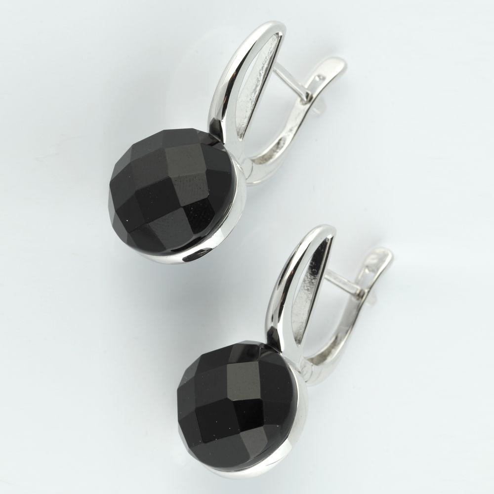 Серебряные серьги «Черная вуаль»