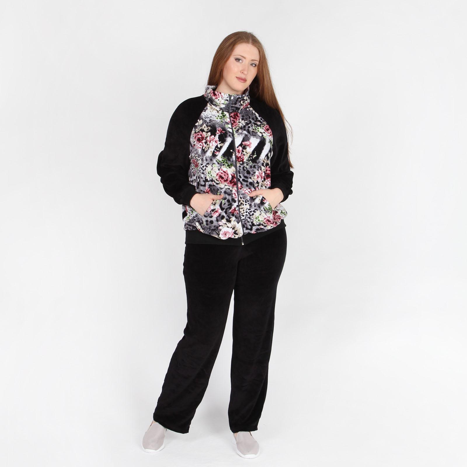 Костюм: куртка с цветочным принтом и брюки