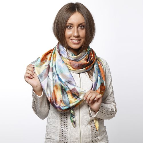 Шарф-долька с узелками и принтом «Акварельная осень»