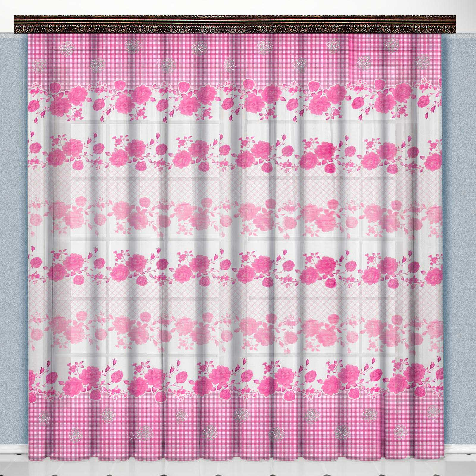 Тюль «Розовые цветы»