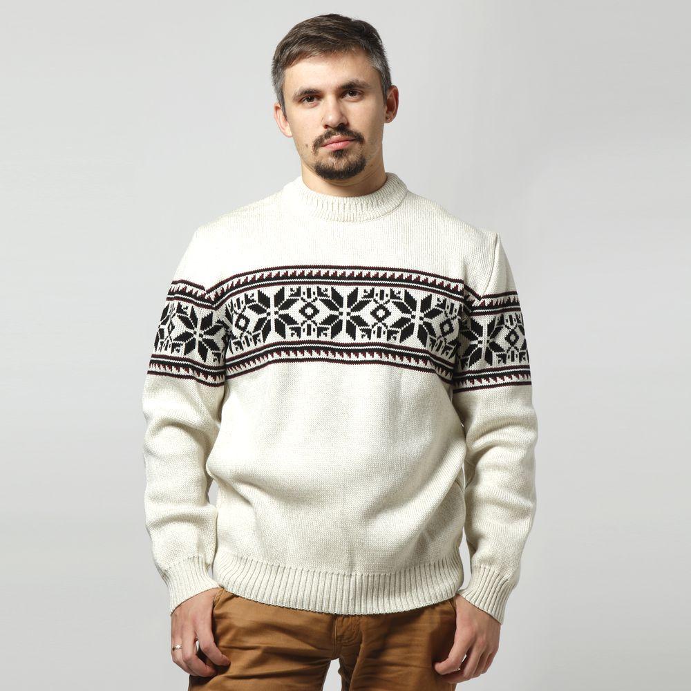 Свитер мужской с модным принтом «снежинки»