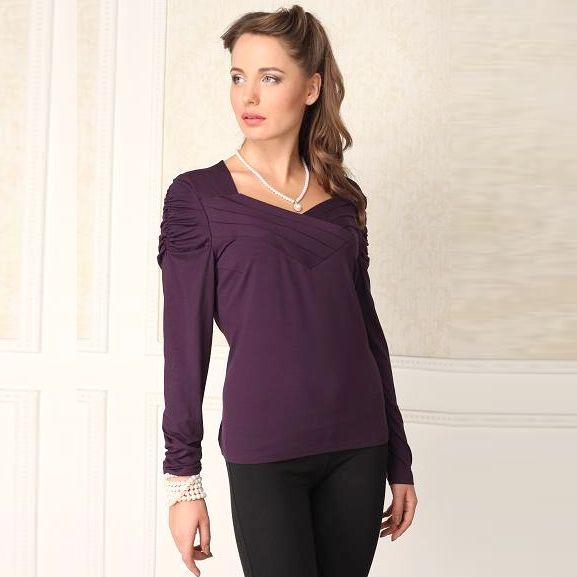 Блуза со сборками на рукавах и планками на груди