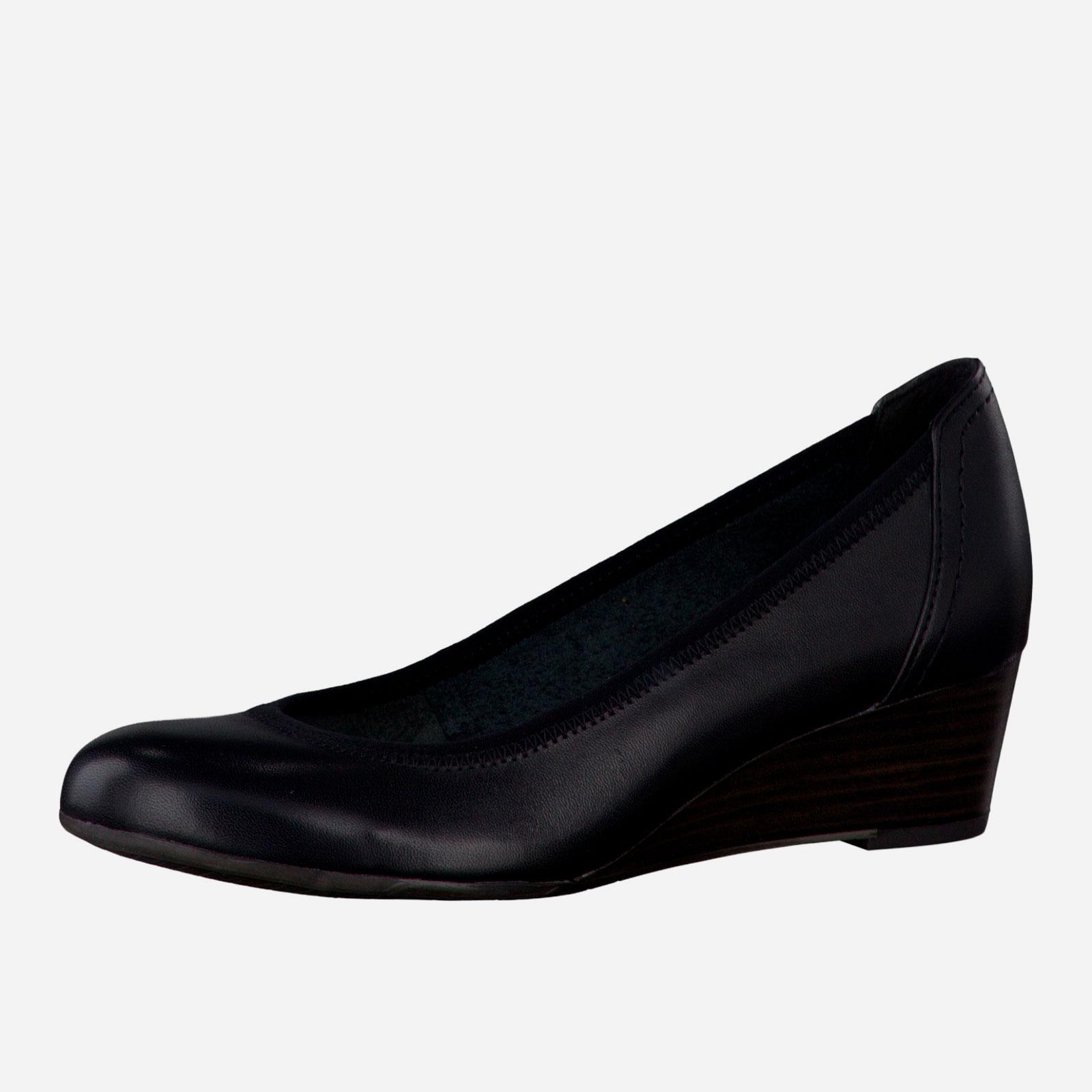 Туфли из натуральной кожи на танкетке