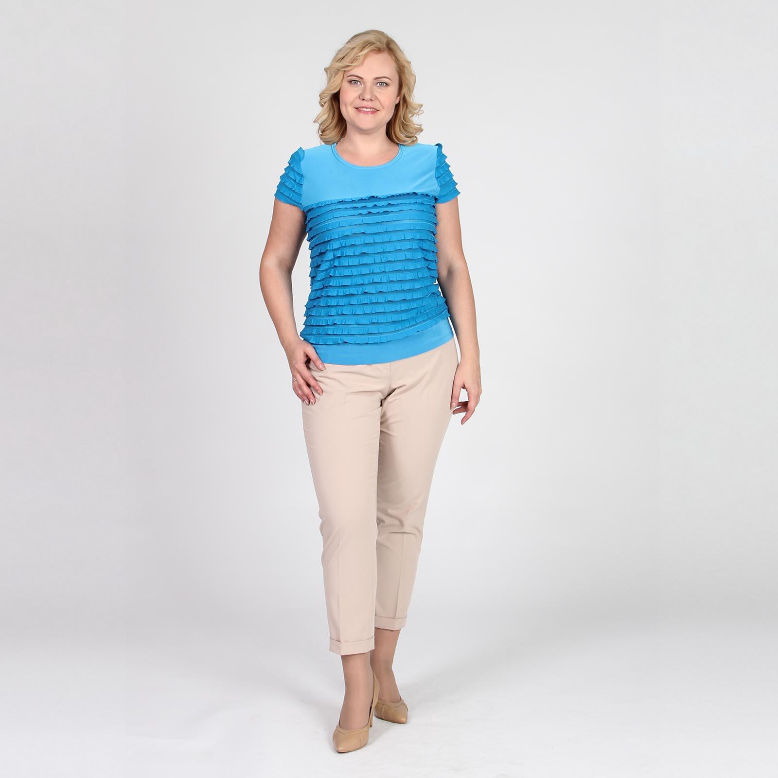 Блуза из комбинированной ткани и коротким рукавом