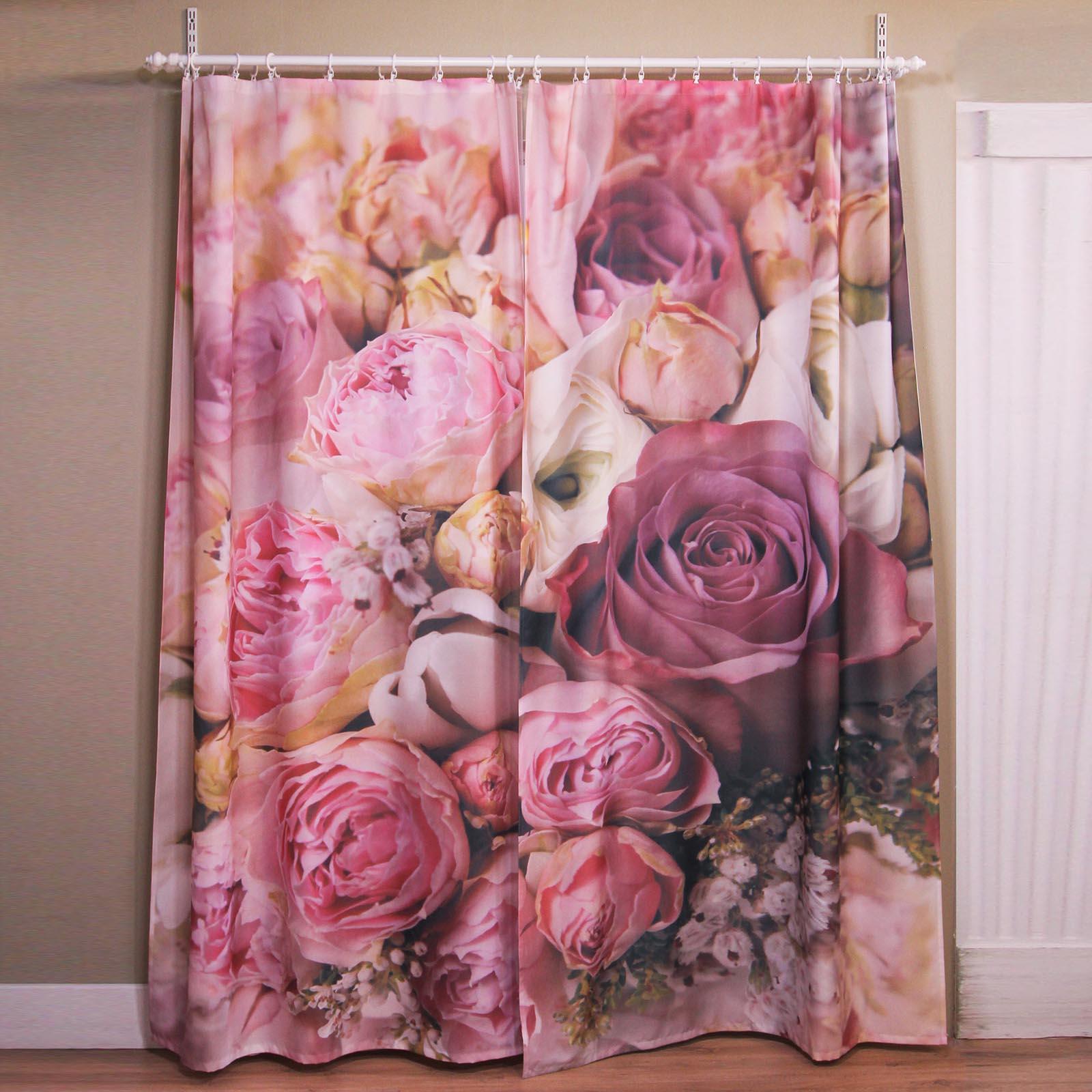 Комплект штор + тюль «Цветочный микс»