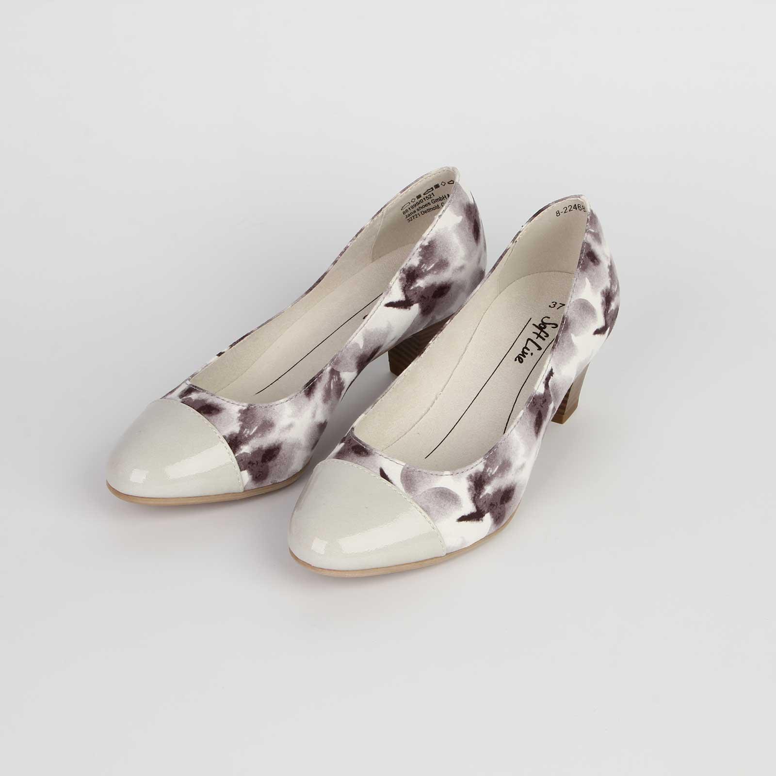 Туфли женские с контрастным мысом и цветочным принтом