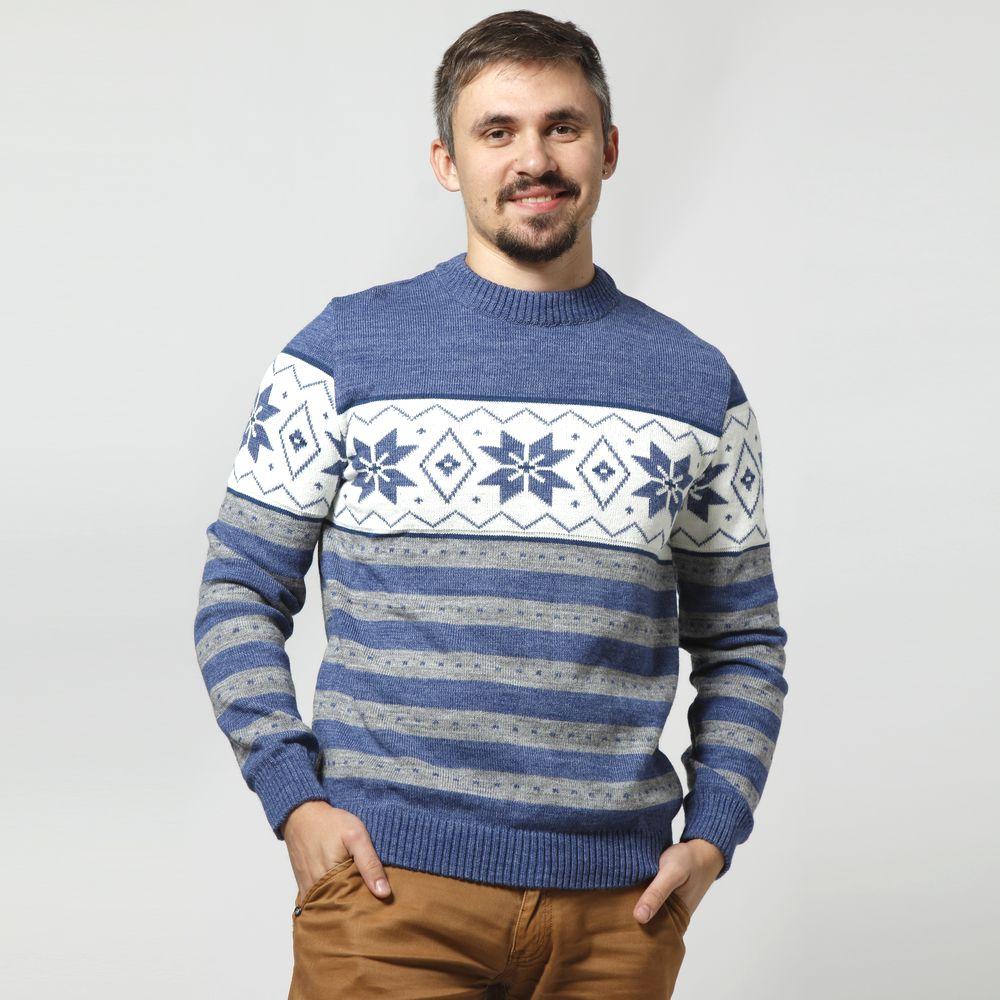 Джемпер мужской с принтом «Снежинки»