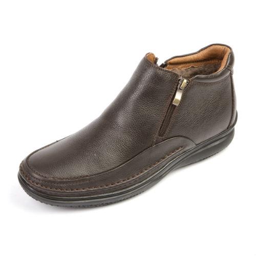 Кожаные зимние мужские ботинки на молнии
