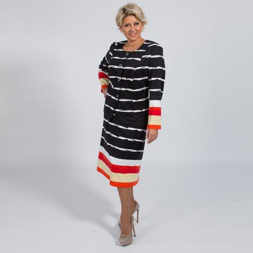 Костюм: жакет и юбка с принтом «полоска»