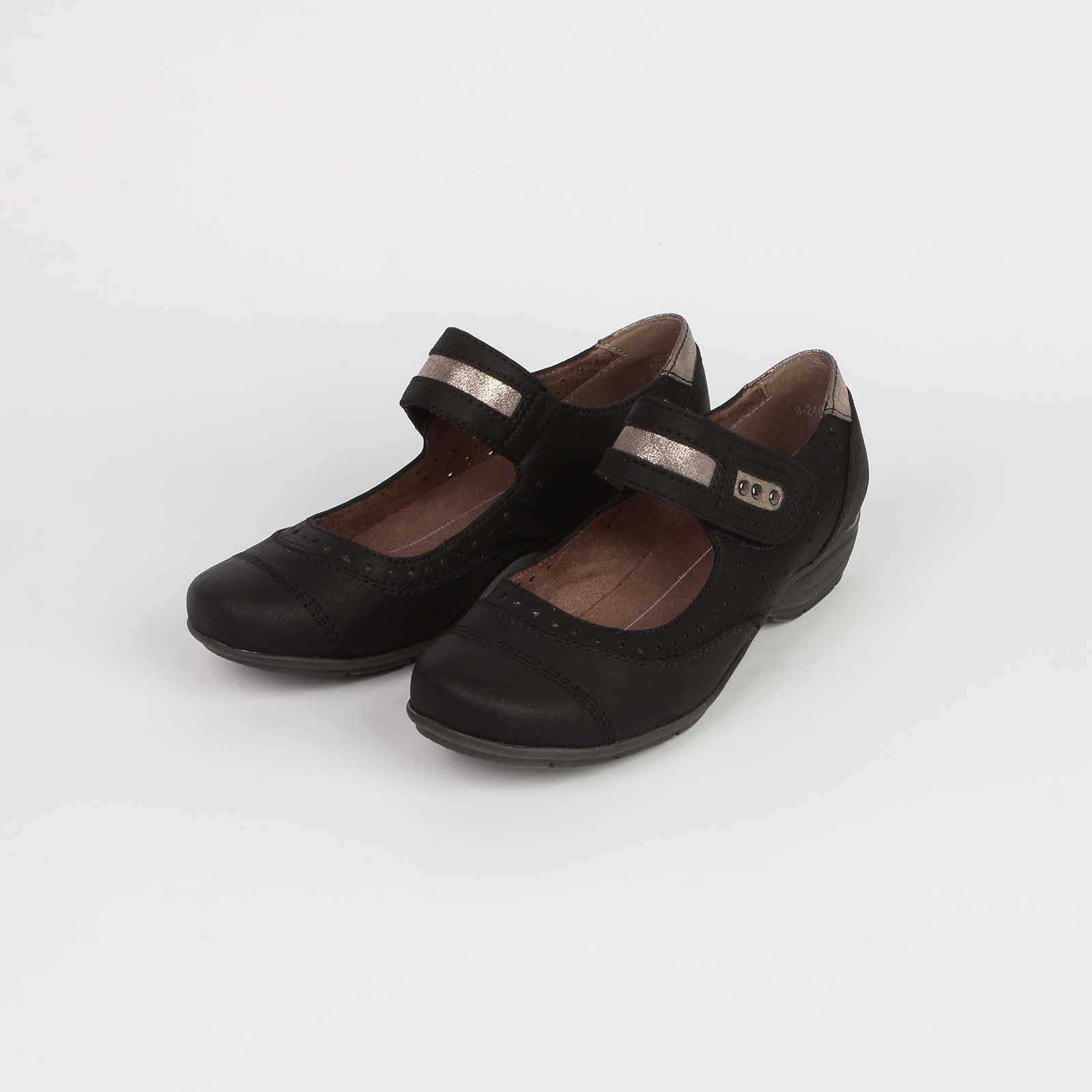 Туфли женские на низком каблуке с вставками под «рептилию»