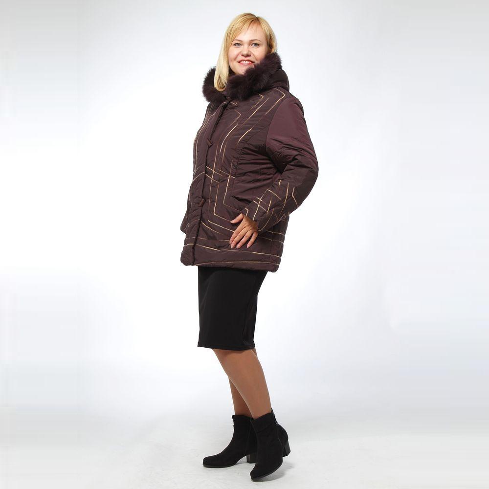 Куртка прямого кроя с натуральным мехом на молнии