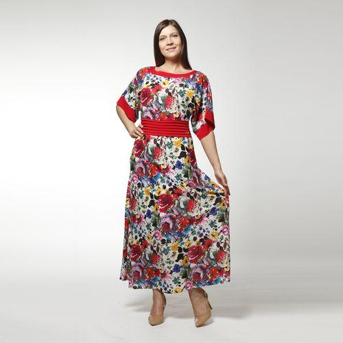 Платье шифоновое с отрезной кокеткой и широким коротким рукавом
