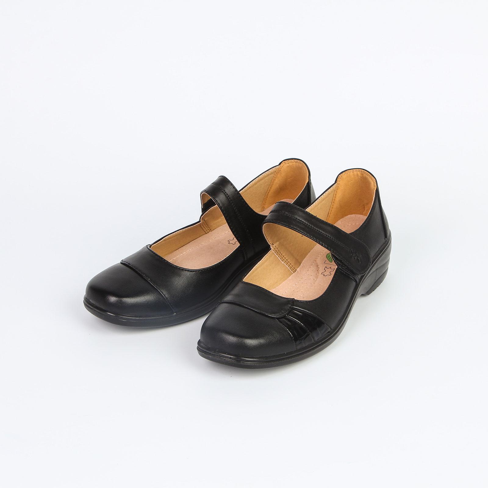 Туфли женские на липучке с лакированными вставками по бокам