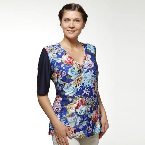 Блуза с коротким рукавом и принтом «цветы»