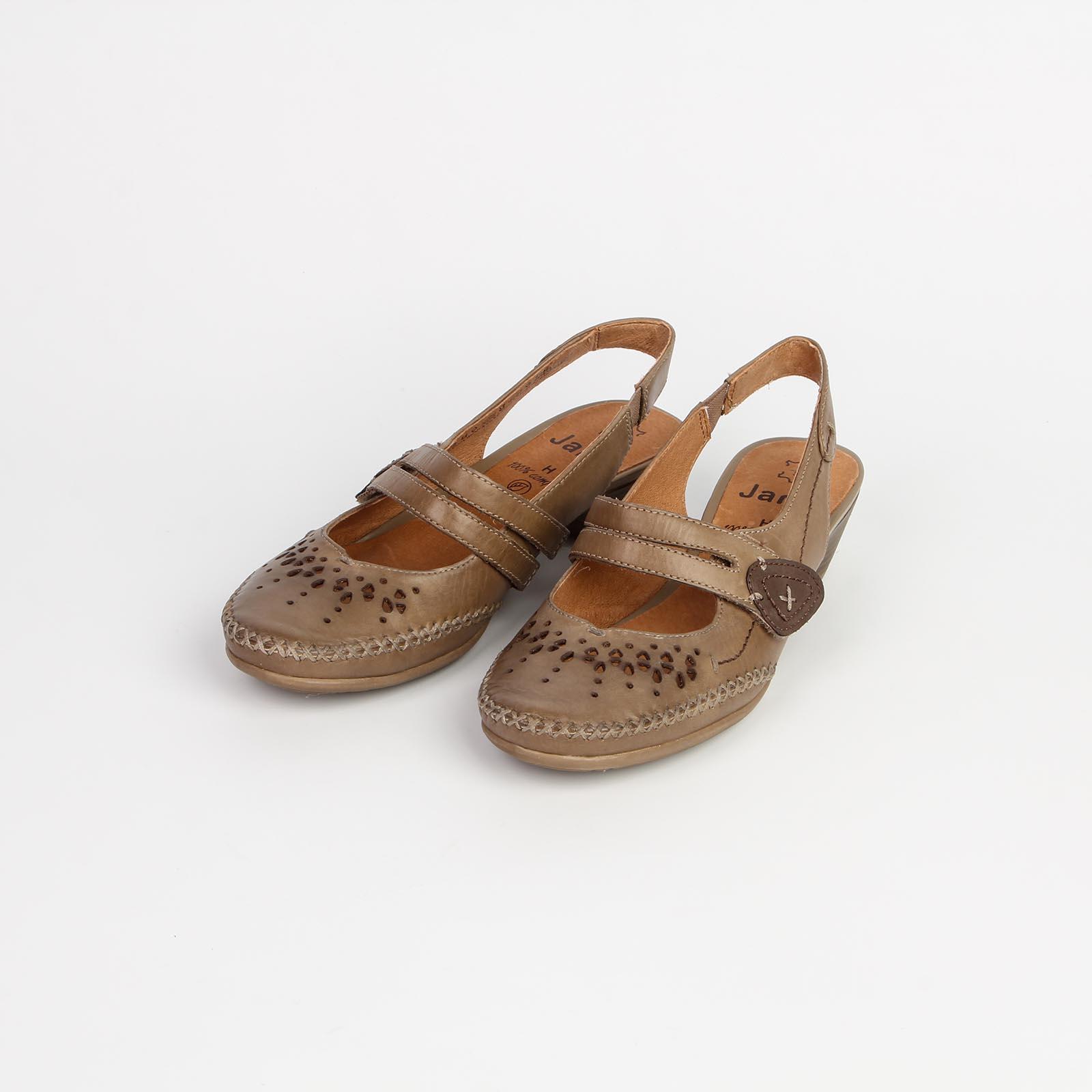 Туфли женские из натуральной кожи с эластичным ремешком